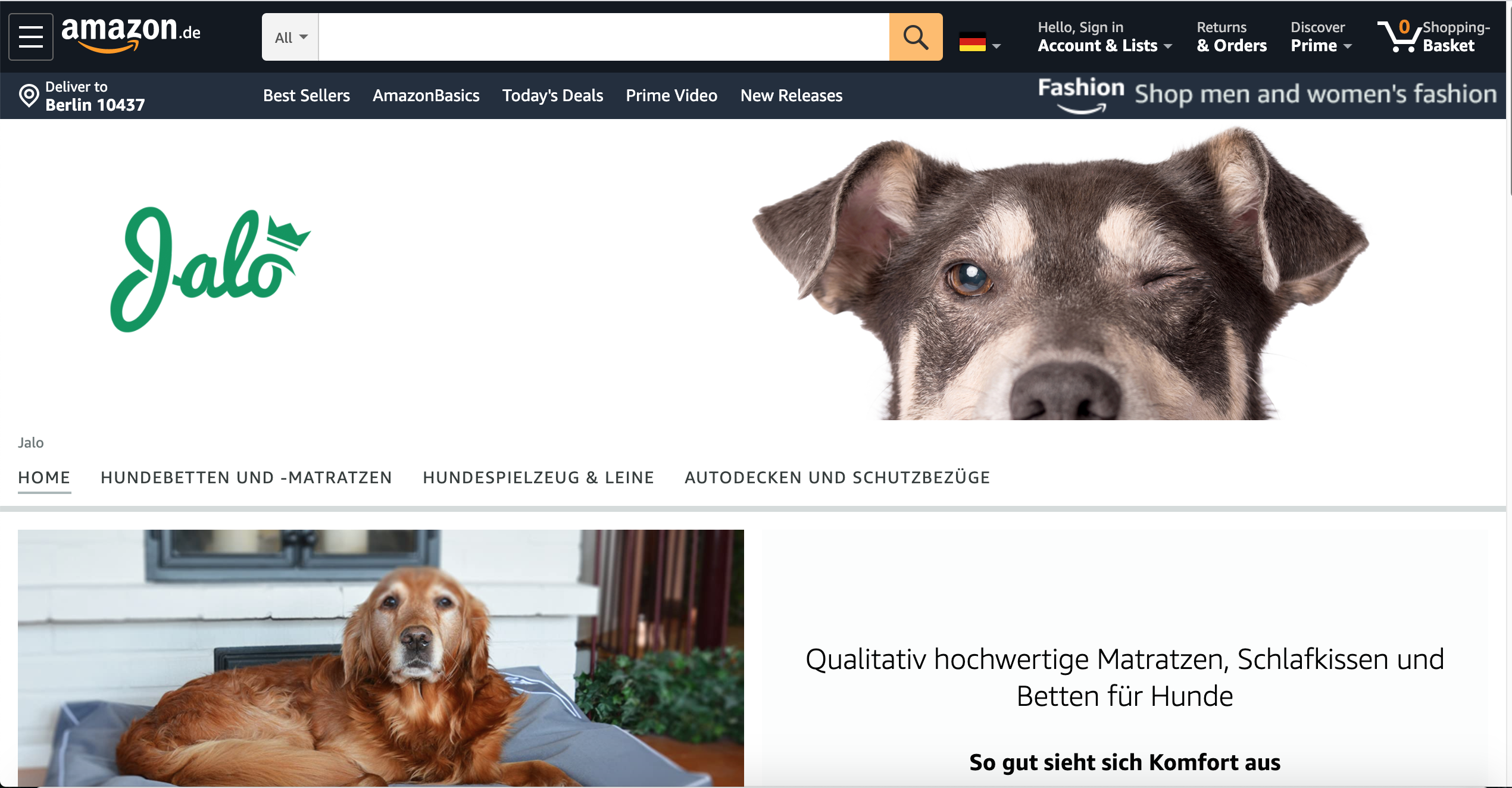 Jalo brand page header in amazon store