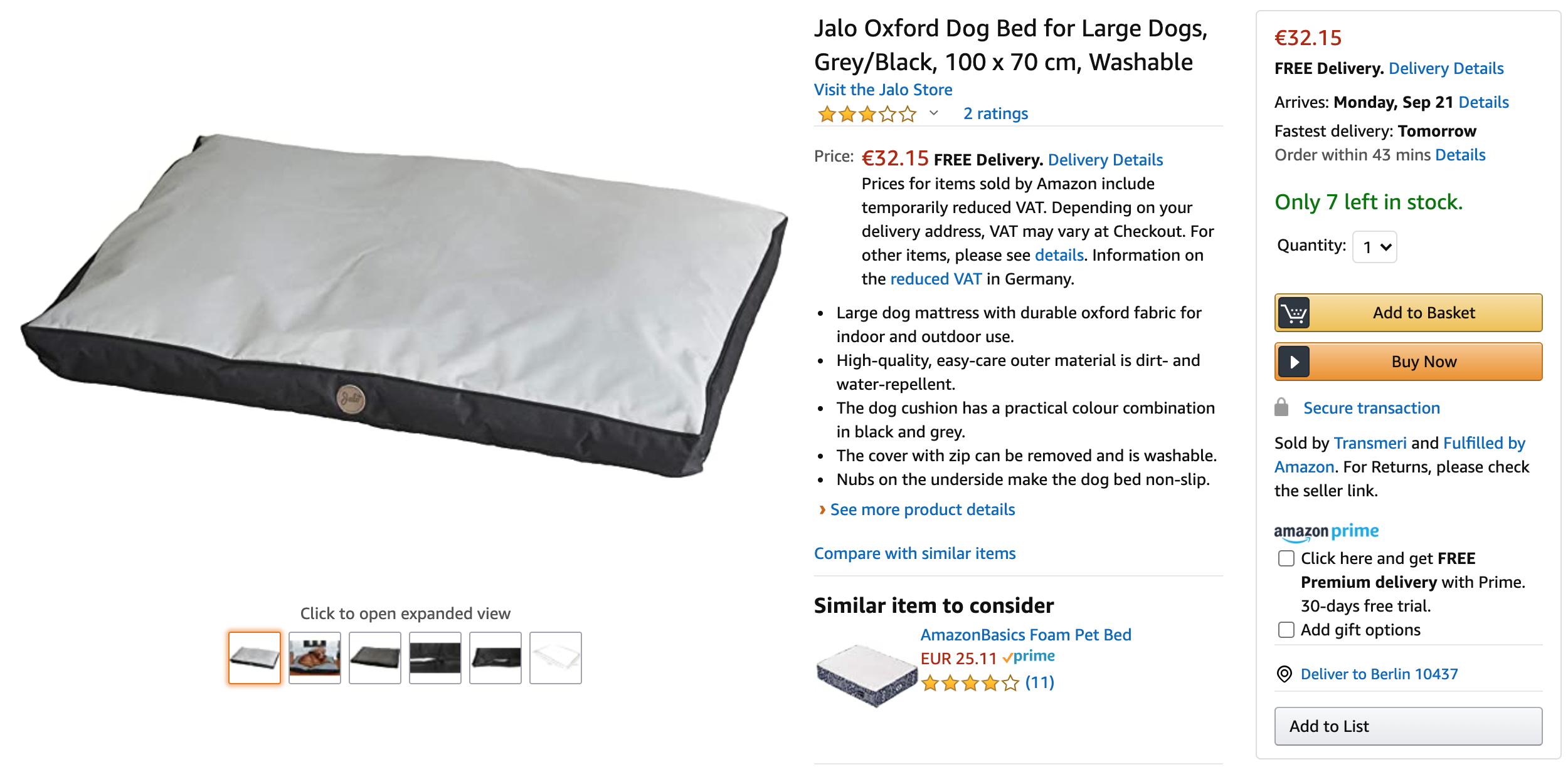 jalo dog bed product page