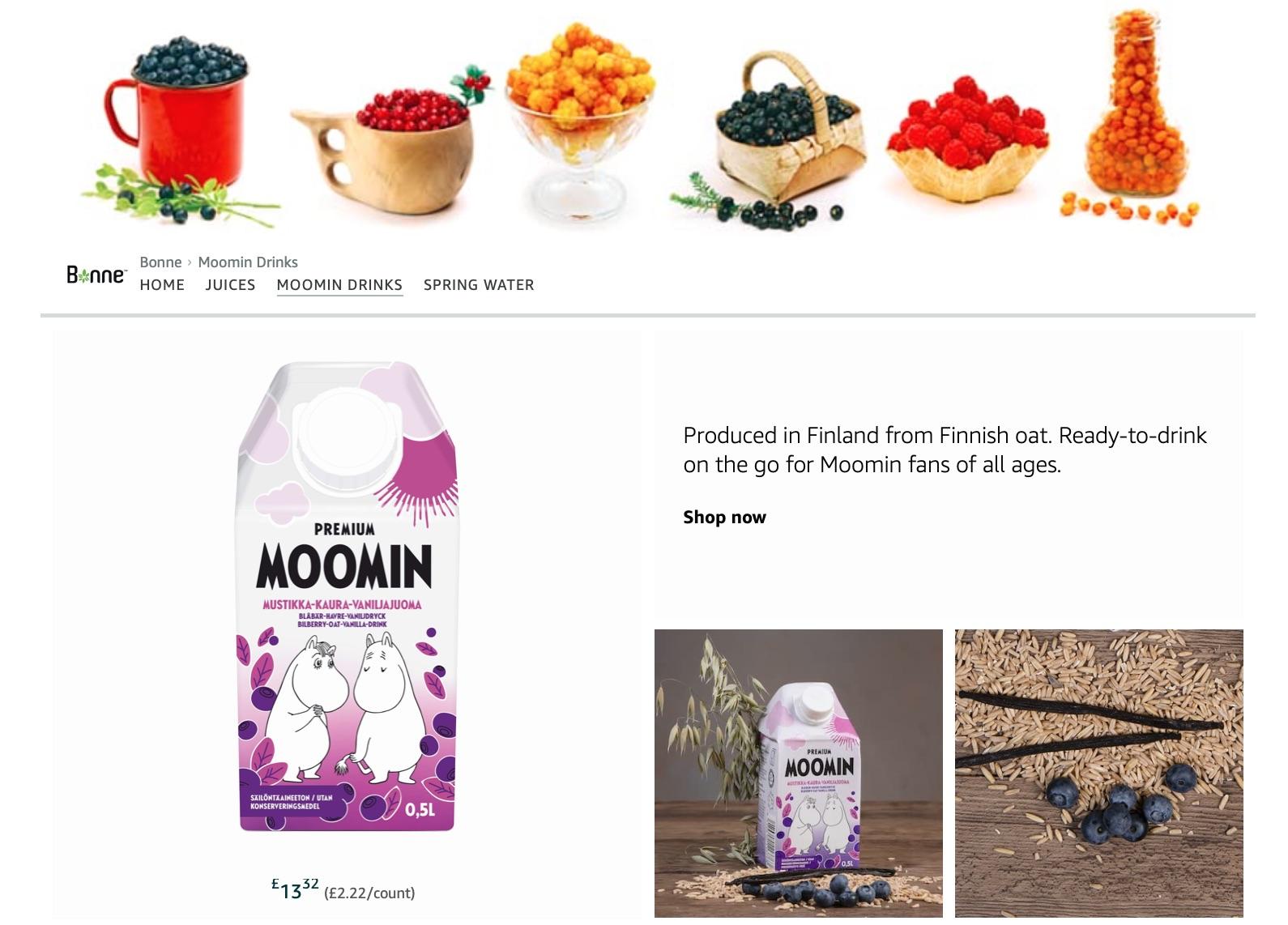 Moonin oat drink and berries
